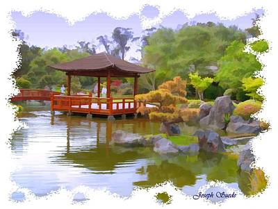 Photograph - Jg-0020 Pavilion Across Koi Pond by Digital Oil