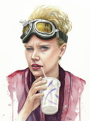 Ghostbusters Painting - Jillian Holtzmann Ghostbusters Portrait by Olga Shvartsur