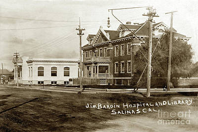 Photograph - Jim Bardin Hospital The Hospital Was Located On The E Side Of Main Street  Circa 1910 by California Views Archives Mr Pat Hathaway Archives