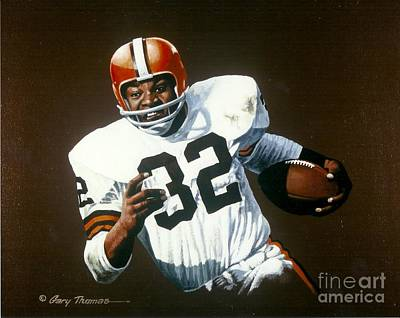 Cleveland Browns Football Painting - Jim Brown by Gary Thomas