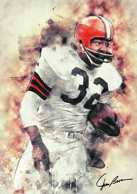 Cleveland Stadium Painting - Jim Brown by Taylan Apukovska