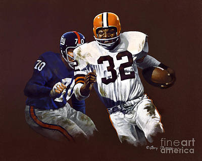 Cleveland Browns Football Painting - Jim Brown Vs Ny Giants by Gary Thomas