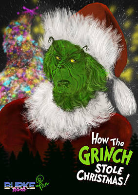Digital Art - Jim Carrey's Grinch by Joseph Burke