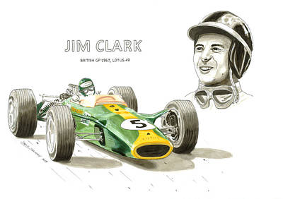 Formula One Drawing - Jim Clark On Lotus by David Selucky