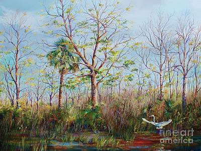 Wood Duck Painting - Jim Creek Lift Off by AnnaJo Vahle