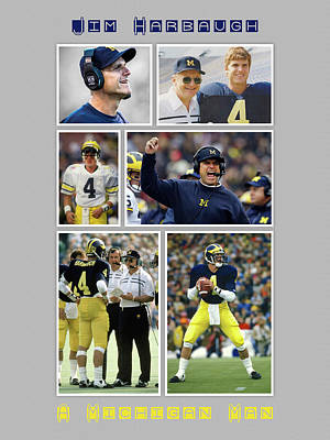 University Of Michigan Painting - Jim Harbaugh A Michigan Man by John Farr
