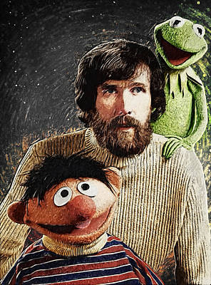 Digital Art - Jim Henson Together With Ernie And Kermit The Frog by Taylan Apukovska