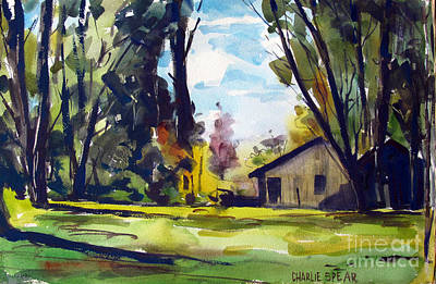 Hermitage Painting - Jim In The Woods Double Matted by Charlie Spear