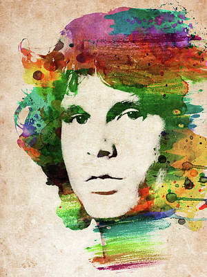 Musicians Royalty Free Images - Jim Morrison colorful portrait Royalty-Free Image by Mihaela Pater