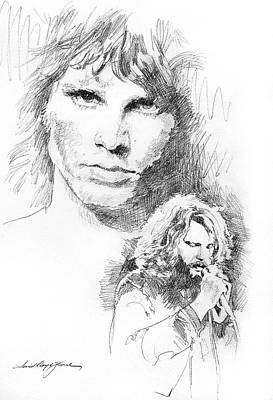 The Doors Drawing - Jim Morrison Faces by David Lloyd Glover