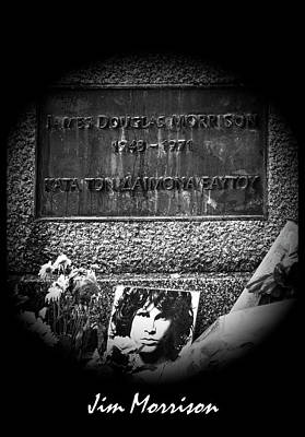 Val Kilmer Wall Art - Photograph - Jim Morrison Grave Pere Lachaise Cemetery Paris France Bw by Sally Rockefeller