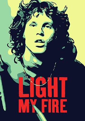 Light My Fire Digital Art - Jim Morrison by Greatom London