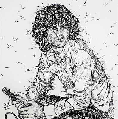 Drawing - Jim Morrison - Ink Portrait by Fabrizio Cassetta
