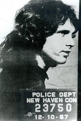 Painting - Jim Morrison Mug Shot Profile Vertical by Tony Rubino