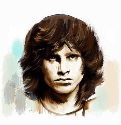 Print featuring the painting Jim Morrison Stolen Dust by Iconic Images Art Gallery David Pucciarelli