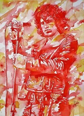 Painting - Jim Morrison - The Doors - Watercolor Portrait.10 by Fabrizio Cassetta