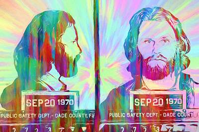 Jim Morrison Tie Dye Mug Shot Art Print by Dan Sproul