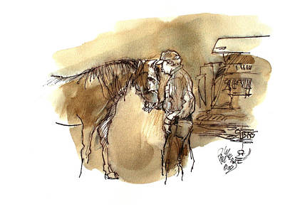 Morgan Horse Painting - Jim The Vet At The Morgan Horse Ranch Prns by Paul Miller