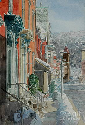 Historic Architecture Painting - Jim Thorpe, Snow by Anthony Butera