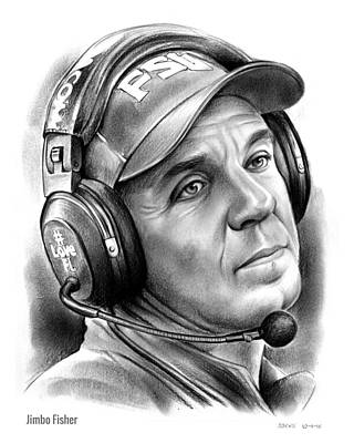 Football Drawing - Jimbo Fisher by Greg Joens