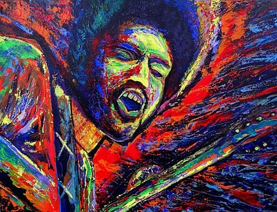James Marshall Jimi Hendrix Painting - Jimi And The Blue Flames by Jeremy Smith