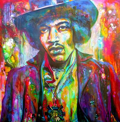 Drips Painting - Jimi by Angie Wright