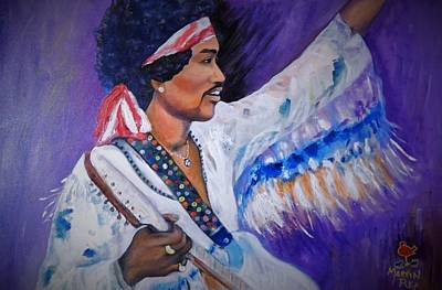 Fender Strat Painting - Jimi At Woodstock by Marvin Pike