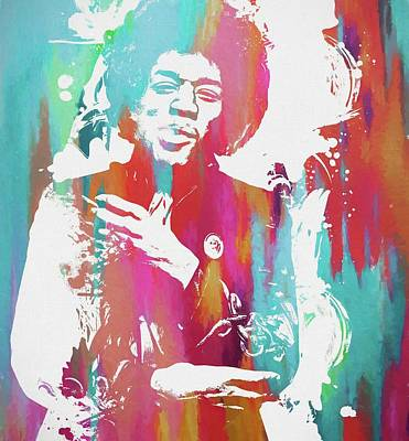Jimi Color Spatter Art Print by Dan Sproul
