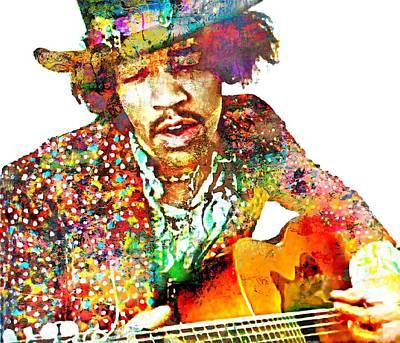 Guitar Player Digital Art - Jimi H by Mal Bray