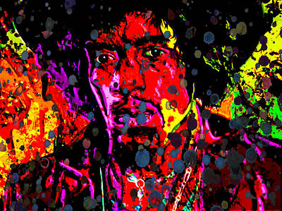 Jimi Hendrix Acid Rain Art Print by Brian Reaves