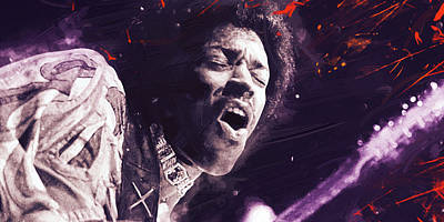 Stratocaster Drawing - Jimi Hendrix by Afterdarkness