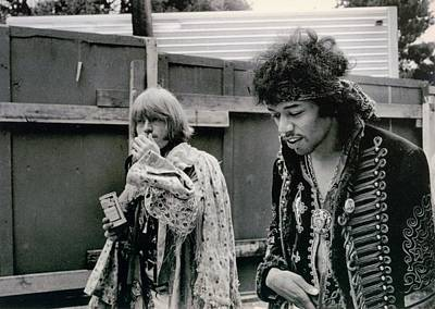 Jimi Hendrix  Brian Jones Monterey Black  White  Art Print