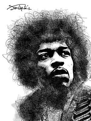 Jimi Hendrix Bw Scribbles Portrait Art Print