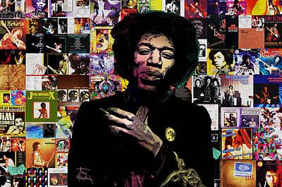 Electric Digital Art - Jimi Hendrix Collage by - BaluX -
