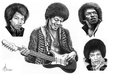 Jimi Hendrix Drawing - Jimi Hendrix Collage by Murphy Elliott