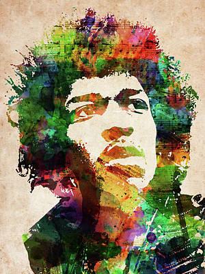 Digital Art - Jimi Hendrix Colorful Portrait by Mihaela Pater