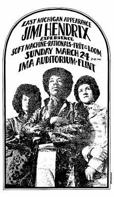 Digital Art - Jimi Hendrix Concert 1968 - Michigan by Daniel Hagerman