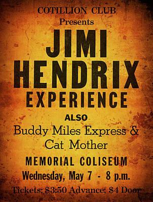 Jimi Hendrix Concert Poster May 7, 1969 Art Print by Daniel Hagerman