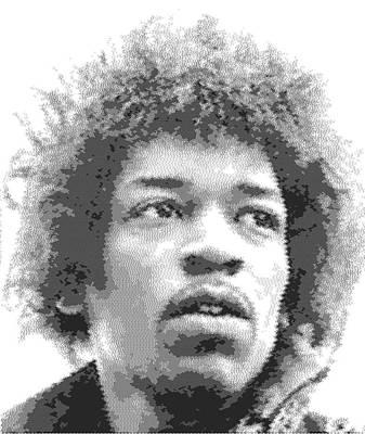 Musicians Drawings - Jimi Hendrix - Cross Hatching by Samuel Majcen