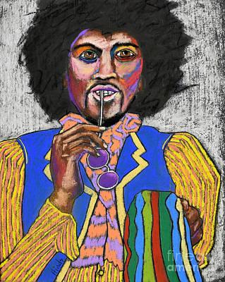 Outsider Art Pastel - Jimi Hendrix by David Hinds