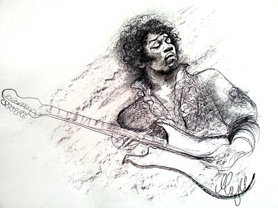 Led Zeppelin Drawing - Jimi Hendrix Drawing by Maja Sokolowska