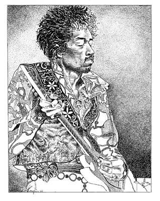 Musican Drawing - Jimi Hendrix by Edith Thompson