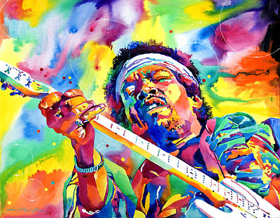 Most Commented Painting - Jimi Hendrix Electric by David Lloyd Glover