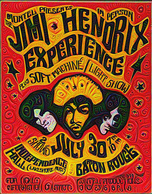 60s Drawing - Jimi Hendrix Experiance Poster by Bill Cannon
