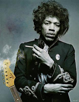 1960 Mixed Media - Jimi Hendrix, Fender Guitar by Thomas Pollart