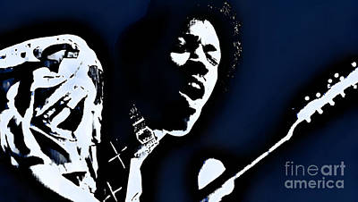 Jimi Hendrix - Graphic Art Blue Art Print by Ian Gledhill