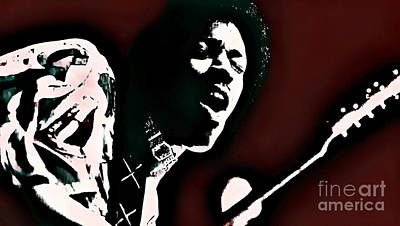 Jimi Hendrix - Graphic Art Red Art Print by Ian Gledhill