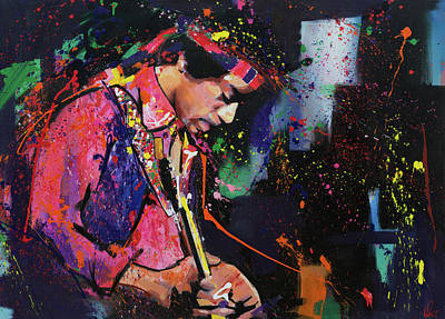Stratocaster Painting - Jimi Hendrix II by Richard Day