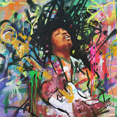 Purple Haze Painting - Jimi Hendrix IIi by Richard Day