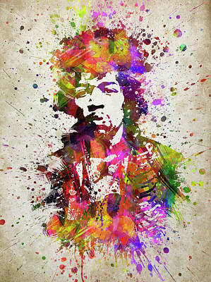 Musicians Digital Art Rights Managed Images - Jimi Hendrix In Color Royalty-Free Image by Aged Pixel